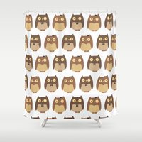 owls Shower Curtains featuring Owls by sheena hisiro