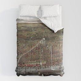 Brooklyn map vintage Comforters