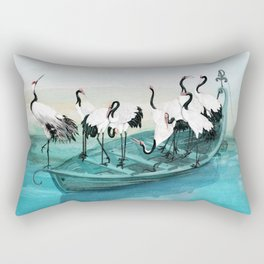 White Cranes Rectangular Pillow
