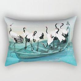White Cranes Rectangular Pillow