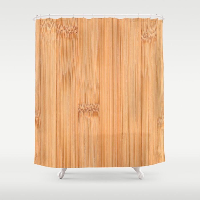 Cool Elegant Light Brown Bamboo Wood Print Shower Curtain