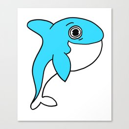 Lovely and funny whale drawing Canvas Print