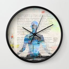 Yoga Book. Lesson 1 Concentration - painting - art print  Wall Clock