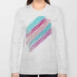 Modern abstract geometrical aqua pink watercolor brushstrokes Long Sleeve T-shirt