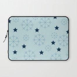 Snowflakes and stars - light blue Laptop Sleeve