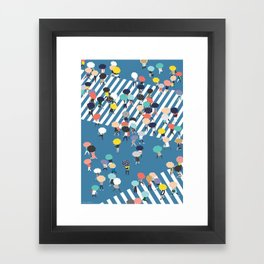 Crossing The Street On a Rainy Day - Blue Framed Art Print