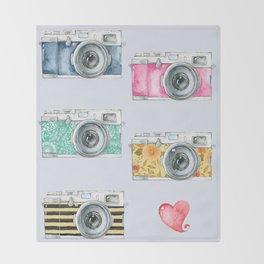 Five Vintage Cameras in Watercolor Throw Blanket