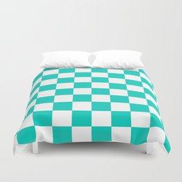 Aqua Blue Checkers Pattern Duvet Cover