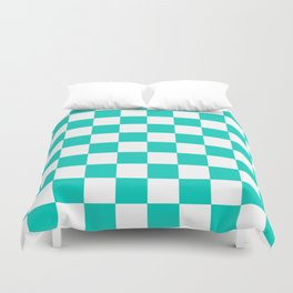 Aqua Blue Checkers Pattern Duvet Cover