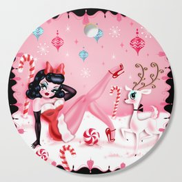 Christmas Pinup Girl with Reindeer Cutting Board