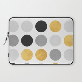 Gray and gold circles Laptop Sleeve