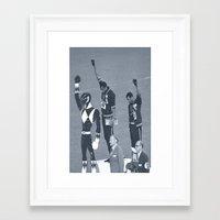 power rangers Framed Art Prints featuring Black Power Rangers by .escobar