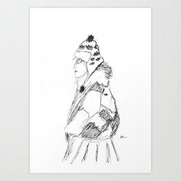 Lady in Winter Art Print