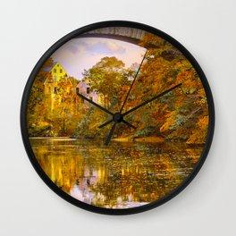 Fall at Upper Falls, Massachusetts.  Echo Bridge Wall Clock