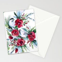 Winter Birds White Stationery Cards