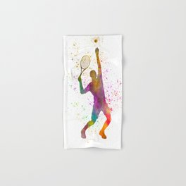 Tennis player in watercolor 02 Hand & Bath Towel