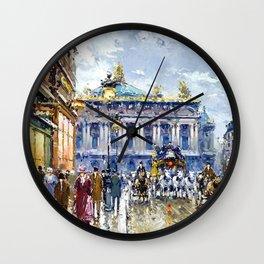 Avenue de l'Opera, Paris, France Landscape by Antone Blanchard Wall Clock