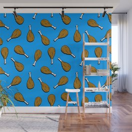 chicken drumsticks on blue Wall Mural