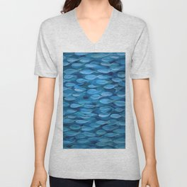 Shimmer Shoal in Blue Unisex V-Neck