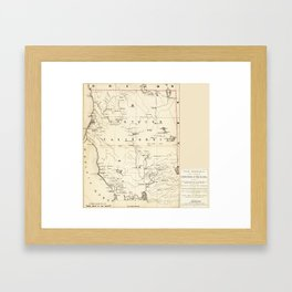 Historic map of Northern California in the 1860s (1866) Framed Art Print