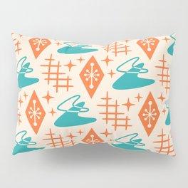 Mid Century Modern Space age Boomerang Pattern Turquoise and Orange 329 Pillow Sham