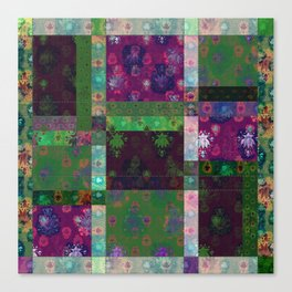 Lotus flower green and maroon stitched patchwork - woodblock print style pattern Canvas Print