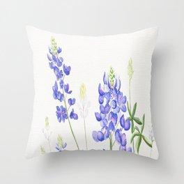 Bluebonnet Watercolor Throw Pillow
