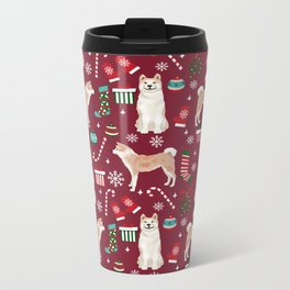 Akita christmas dog breed pattern snowflakes mittens candy canes stockings Metal Travel Mug