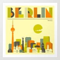 berlin Art Prints featuring BERLIN by Jazzberry Blue