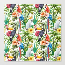 Tropical Birds Palm Trees Pattern Canvas Print