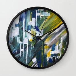Green Blue Yellow Abstract 1 Wall Clock
