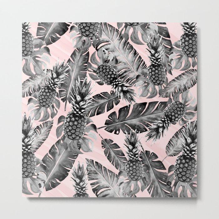 Leaves and pineapples pattern Metal Print