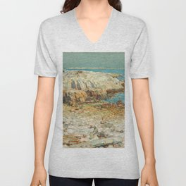 A North East Headland Oil Painting by Childe Hassam Unisex V-Neck