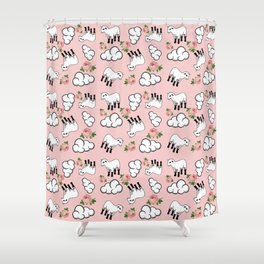 vinage lamb pattern pink Shower Curtain