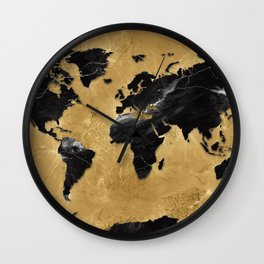 world map marble gold 2 Wall Clock