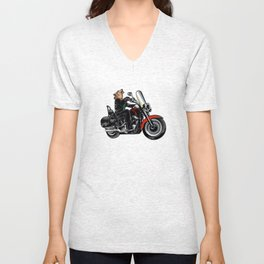 Wolf on the motorcycle Unisex V-Neck