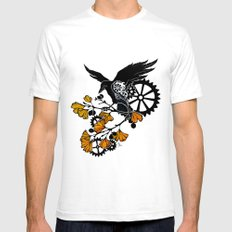Raven and Ginkgo - Autumn Cycle SMALL White Mens Fitted Tee