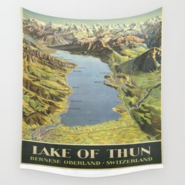 Vintage poster - Lake of Thun Wall Tapestry
