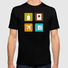 Travel Icons Mens Fitted Tee MEDIUM Black