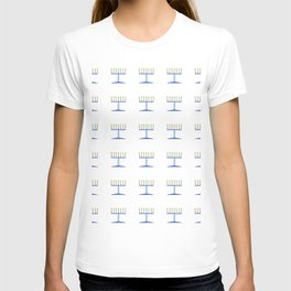 menorah 5,Hanukkah,jewish,jew,judaism,Festival of Lights,Dedication,jerusalem,lampstand,Temple, מְנו T-shirt