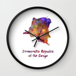 Democratic Republic of the Congo  in watercolor Wall Clock