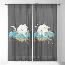 Flat Earth Cat Sheer Curtain