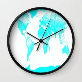 world MAp Aqua Blue Wall Clock