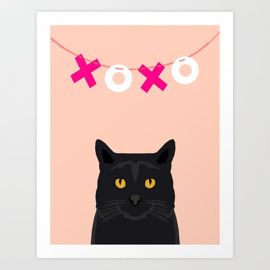 Black Cat - XOXO - hearts valentines, pink, girly, pet, cat lady, trendy girl for valentines card Art Print