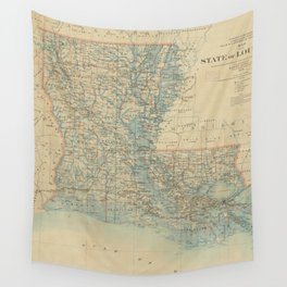 Vintage Map of Louisiana (1896) Wall Tapestry