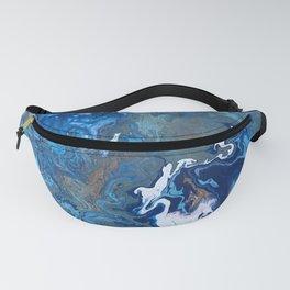 Undercurrent - Blue Wavy Ocean Abstract Fluid Art Fanny Pack