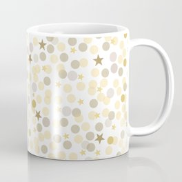 Gold and Metallic Colors Circles and Stars. Confetti White Background Pattern Coffee Mug