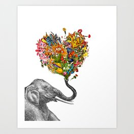 Happy Elephant  Art Print