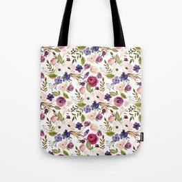 Violet and Pink Blossom on White Tote Bag