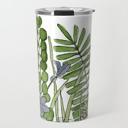 Watercolor Woodland Ferns and Violets Delicate Detailed Nature Art Travel Mug